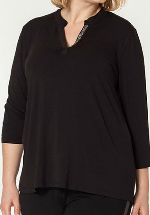 www.plus-Q.dk skjortebluse med glimmer plus size tøj fra No Secret