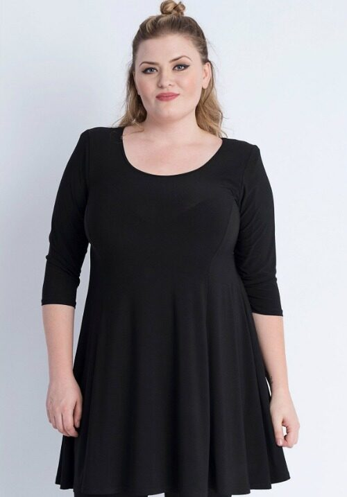 www.plus-Q.dk basis kjole sort størrelse 40 til 66