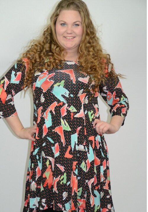 www.plus-Q.dk magna kjole med mønster i coral