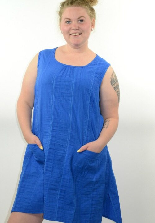 www.plus-Q.dk sommerkjole i wash and go fra kj brand royal blue-6