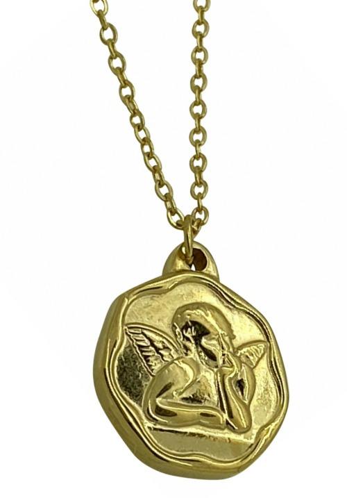 www.plus-Q.dk halskæde med engel guld