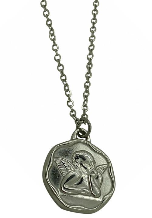 www.plus-Q.dk halskæde med engel sølv