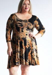 www.plus-Q.dk kjole i flot print med orange