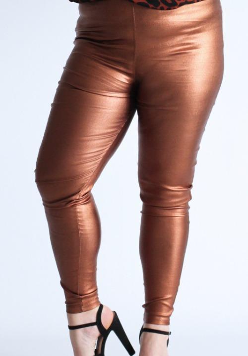 www.plus-Q.dk kraftige leggings i bronze metallic