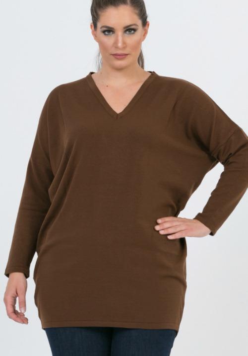 www.plus-Q.dk MAT Fashion strik med V-hals brun