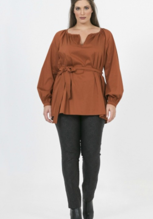 www.plus-Q.dk bluse fra MAT Fashion terracotta 7201 1300-2