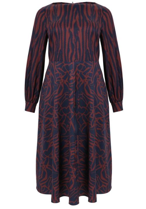 www.plus-Q.dk kjole med 2 print - blå og orange 7401 7089