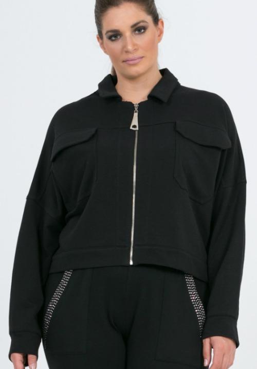 www.plus-Q.dk kort jakke fra Mat Fashion 7201 4124 sort os