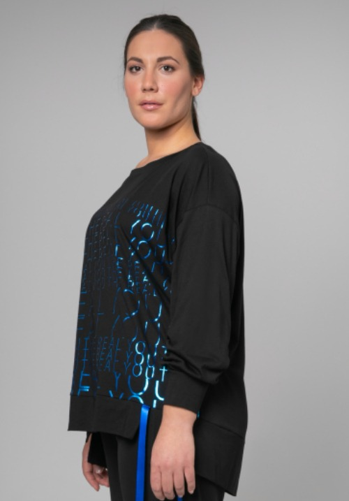 www.plus-Q.dk mat bluse med metallic print