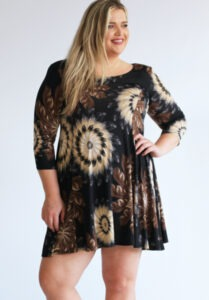 www.plus-Q.dk magna kjole med fjer print
