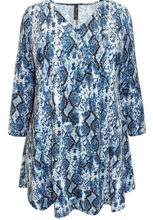 www.plus-Q.dk tunika i blåt slangeskindsprint