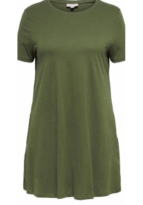 www.plus-Q.dk basiskjole i bomuld khaki grøn