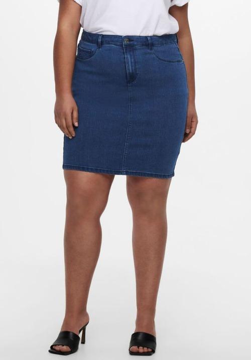 www.plus-Q.dk denim nederdel fra CarmaKoma medium blå ensfarvet
