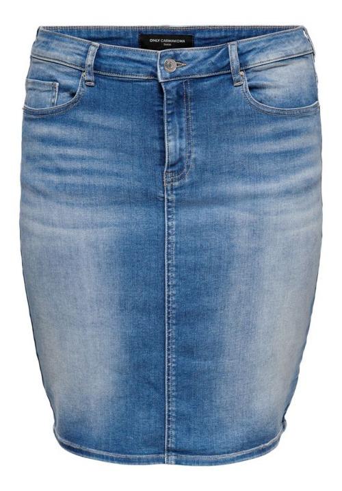www.plus-Q.dk høj taljet denim nederdel fra Only Carmakoma - medium blue